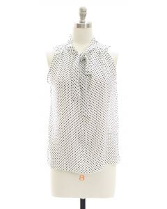 Pussy Bow Polka Dot Blouse - White