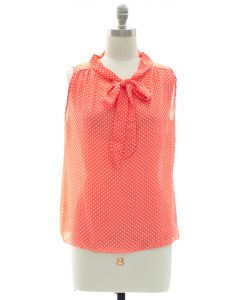 Polka Dot Self Tie Blouse - Coral