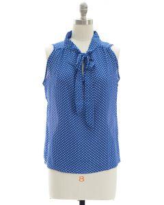 Polka Dot Self Tie Blouse - Blue