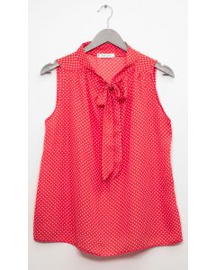 Self Tie Sleeveless Blouse - Coral