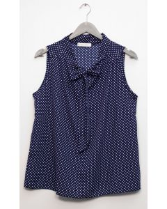 Self Tie Sleeveless Blouse - Blue