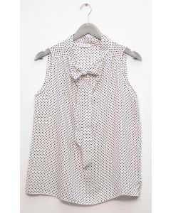 Self Tie Sleeveless Blouse - White