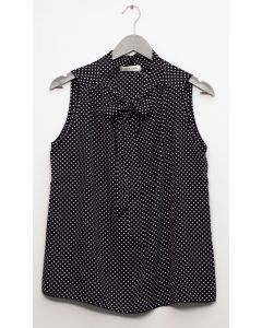 Self Tie Sleeveless Blouse - Black