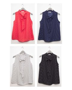 Self Tie Sleeveless Blouse - Assorted