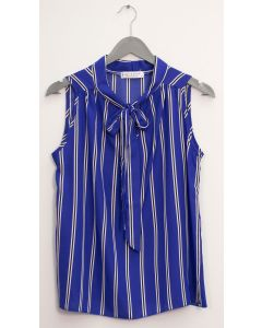 Sleeveless Tie Neck Blouse - Royal Stripe