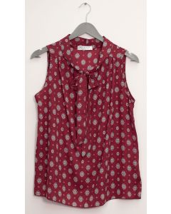 Sleeveless Tie Neck Blouse - Burgundy Medallion