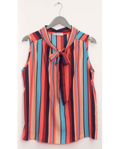 Sleeveless Tie Neck Blouse - Multi Stripe