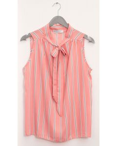 Sleeveless Tie Neck Blouse - Pink Stripe