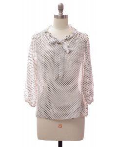 3/4 Sleeve Tie Front Polka Dot Blouse - White