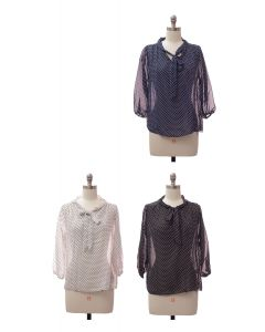 3/4 Sleeve Tie Front Polka Dot Blouse - Assorted