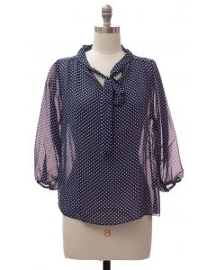 Quarter Sleeve Pussy Bow Blouse - Navy