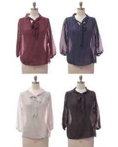 Quarter Sleeve Pussy Bow Blouse - Assorted