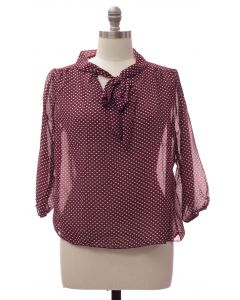 Plus Quarter Sleeve Pussy Bow Blouse - Burgundy