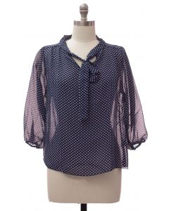 Plus Quarter Sleeve Pussy Bow Blouse - Navy