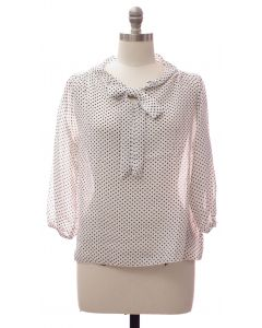 Plus Quarter Sleeve Pussy Bow Blouse - White