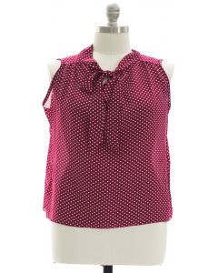 Plus Pussy Bow Polka Dot Blouse - Burgundy