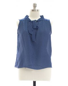Plus Pussy Bow Polka Dot Blouse - Navy