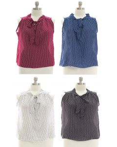 Plus Pussy Bow Polka Dot Blouse - Assorted