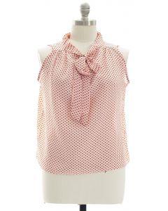 Plus Polka Dot Self Tie Blouse - Blush