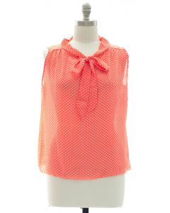 Plus Polka Dot Self Tie Blouse - Coral