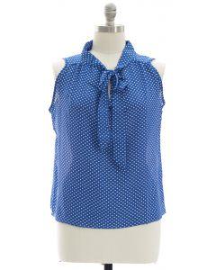 Plus Polka Dot Self Tie Blouse - Blue