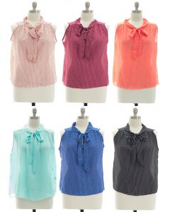 Plus Polka Dot Self Tie Blouse - Assorted