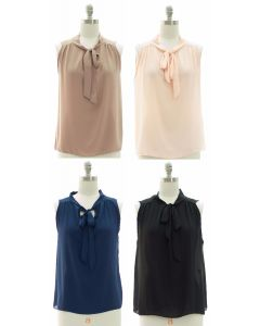 Sleeveless Self Tie Blouse - Assorted