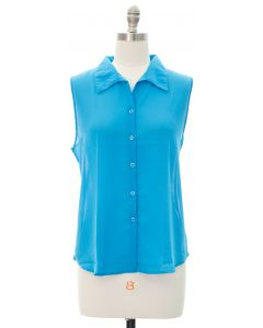 Sleeveless Button Down Blouse - Blue