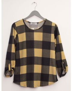 Hacci Printed Top - Mustard Plaid