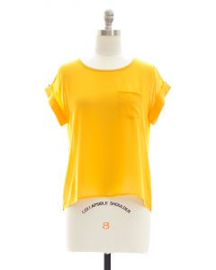 Button Back Blouse - Yellow