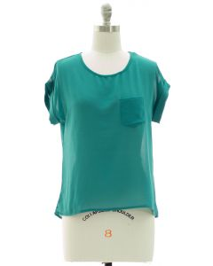 Short Sleeve Button Back Blouse - Green