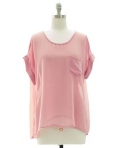 Short Sleeve Button Back Blouse - Pale Pink