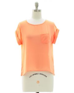 Short Sleeve Button Back Blouse - Coral