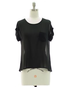 Short Sleeve Button Back Blouse - Black