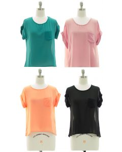 Short Sleeve Button Back Blouse - Assorted