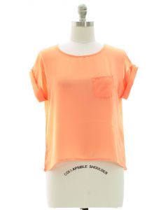 Plus Short Sleeve Button Back Blouse - Coral