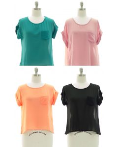 Plus Short Sleeve Button Back Blouse - Assorted