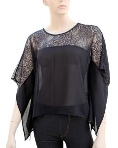 Kimono Lace Blouse - Black - LAST FINAL SALE