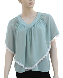Poncho Blouse - Steel Blue