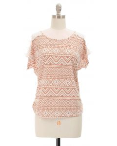 Shoulder Lace Top - Taupe