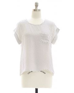 Plus Polka Dot Button Back Blouse - White