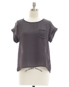 Plus Polka Dot Button Back Blouse - Black