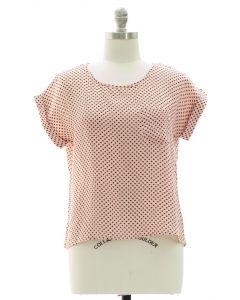 Button Back Polka Dot Blouse - Blush