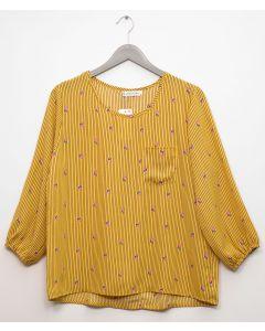 3/4 Sleeve Button Back Blouse - Mustard