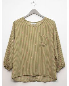 3/4 Sleeve Button Back Blouse - Olive