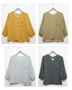 3/4 Sleeve Button Back Blouse - Assorted