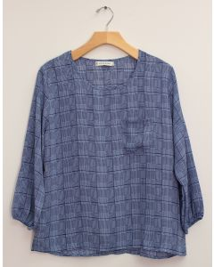 3/4 Sleeve Button Back Blouse - Navy Plaid