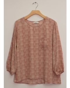 3/4 Sleeve Button Back Blouse - Clay Plaid