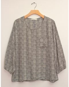 3/4 Sleeve Button Back Blouse - White Plaid