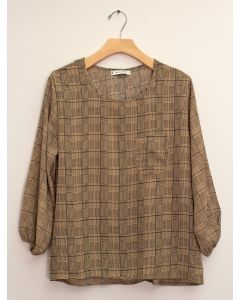 3/4 Sleeve Button Back Blouse - Khaki Plaid